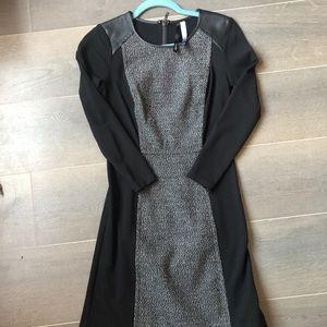 Kensie Black Grey Trimming Faux Leather Dress